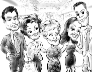 caricature of family in Florida
