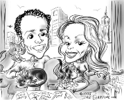 caricature of couple in New York apartment