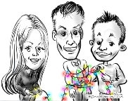 caricature of co-workers on holiday card