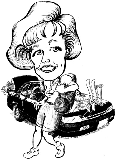 CARICATURE of woman w/ car