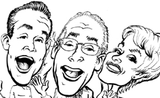 click to see CARICATURE of David, Michael & Sherril Feldman for David Feldman Worldwide