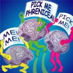 Brain Illustration for Pick Me Phrenicea web site by Dale Gladstone, New York, NY