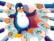 New York City's Best Party Caricatures Tux the penguin digital illustration for Linux magazine
