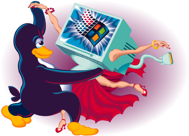 Tux The Penguine Dancing With Windows For Linux Magazine
