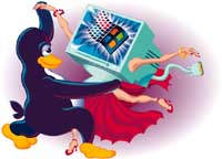 click to see digital illustration of Tux dancing samba w/ Windows for Linux Magazine