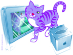 click to see digital illustration of  cat for Apple Computer