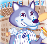 click to see digital illustration for Wolf's Delicatessen w/ baseball fan at Yankee Stadium w/ hot dog