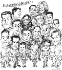 party caricatures of groups in black and white