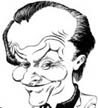 aricature of Jack Nicholson in Black & White