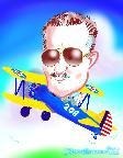 ny caricature with stearman biplane bob