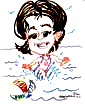 swimming  beach caricature