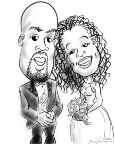caricature of couple getting married in New York