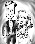 caricature of wedding couple in New Jersey